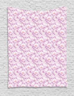 Pastel Flower Blooms Tapestry