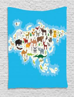 Eurasian Fauna Bear Fox Tapestry