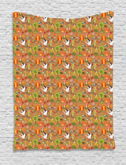 Autumn Forest Creatures Tapestry