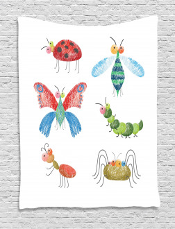 Hand Drawn Bug Pattern Tapestry