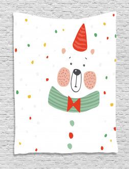 Xmas Bear Party Hat Tapestry