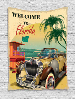 Old Beach Car Picture Tapestry