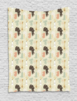 African Fauna Pattern Tapestry