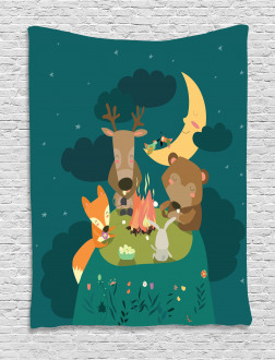 Forest Bonfire at Night Tapestry