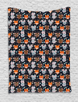 Bunny Fox with Glasses Tapestry