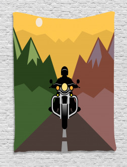 Rider in Mountains Tapestry