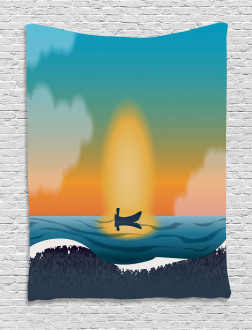 Boat Waves Seascape Marine Tapestry