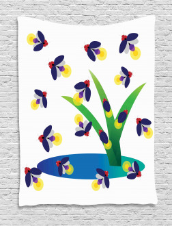 Bugs Flying around Water Tapestry