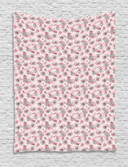 Sketchy Flowers on Soft Pink Tapestry