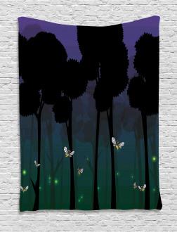 Woodland Night Cartoon Kids Tapestry
