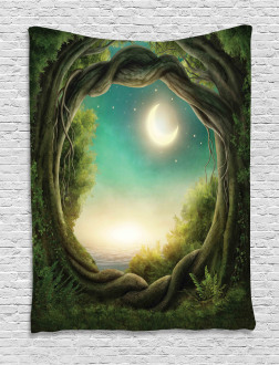 Enchanted Forest Full Moon Tapestry