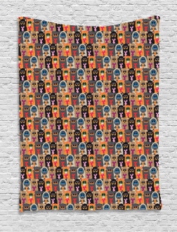 Colorful Cats Holding Hearts Tapestry