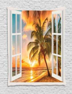 Sea Ocean Palms Scenery Tapestry