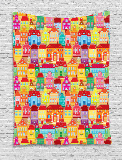 Colorful Houses Tapestry