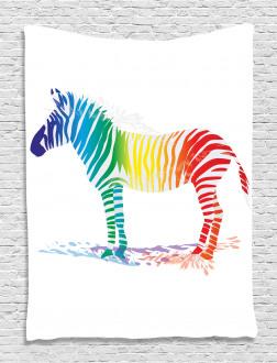Zebra Rainbow Colors Tapestry