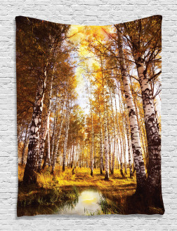 Autumn Birch Trees River Tapestry