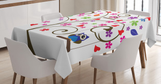 Tree Flowers Playful Birds Tablecloth