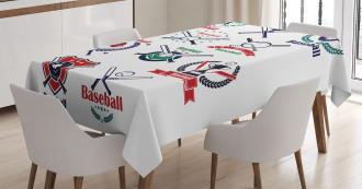 Baseball Glove Bats Tablecloth