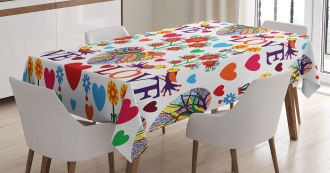 Colorful Blooms Birds Tablecloth