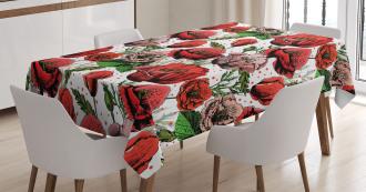 Colorful Petals Polkadots Tablecloth