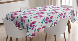 Poppies Leaves Buds Tablecloth