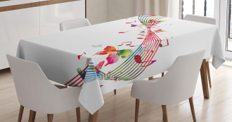 Colorful Notes Butterfly Tablecloth