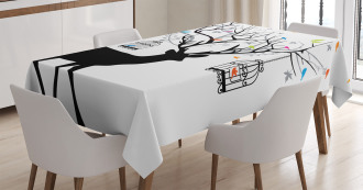 Deer Colorful Birds Tablecloth