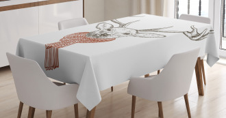 Deer with Scarf Winter Tablecloth