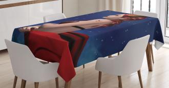 Taurus Girl Horns Sign Tablecloth