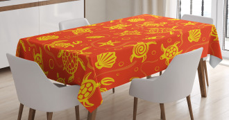 Yellow Turtles Crabs Tablecloth