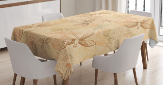Vintage Birds Dragonflies Tablecloth