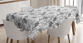 Blooming Flowers Buds Art Tablecloth
