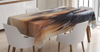 Old Ethnic Feather Tablecloth