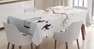 Roses Blossoms Birds Tablecloth