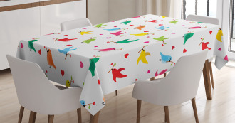 Heart Branches Colorful Tablecloth