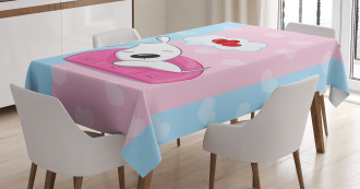 Puppies on Sofa Heart Shape Tablecloth