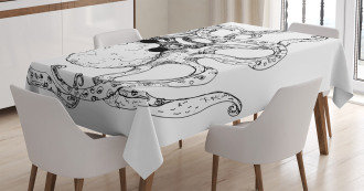 Hipster Animal Sketch Tablecloth