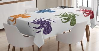 Grunge Underwater Life Tablecloth