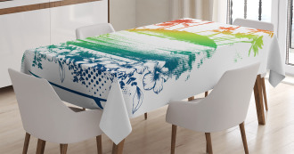 Grunge Summer Scenery Tablecloth