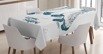 Retro Roller Skates Tablecloth