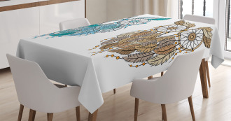 Ethnic Farsighted Birds Tablecloth