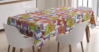 Ornate Owl Polka Dots Tablecloth