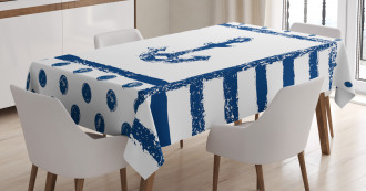 Grunge Boat Navy Theme Tablecloth