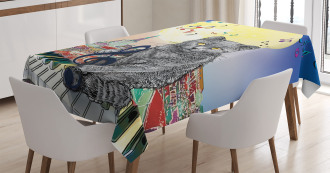 Musical Notes Cat Tablecloth