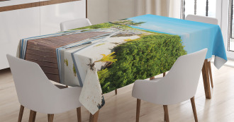 Wooden Walkway Exotic Tablecloth