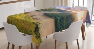 Rising Sun Calm River Tablecloth