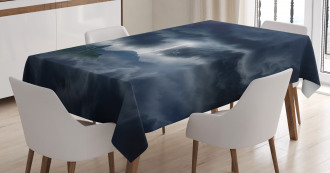 Stromy Sky over Mountains Tablecloth