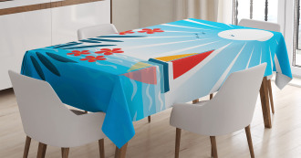 Oleanders and Sailboat Tablecloth