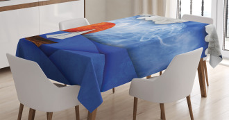Ship on Misty Waters Tablecloth