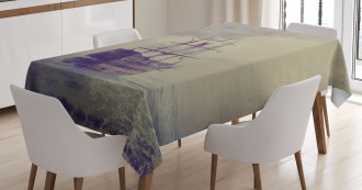 Old Pirate Ship in Sea Tablecloth